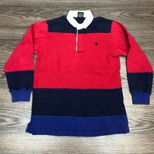 Polo Ralph Lauren Red & Blue Stripe Rugby Shirt M
